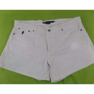 Ralph Lauren Mini Shorts Denim White Stretch 36 W